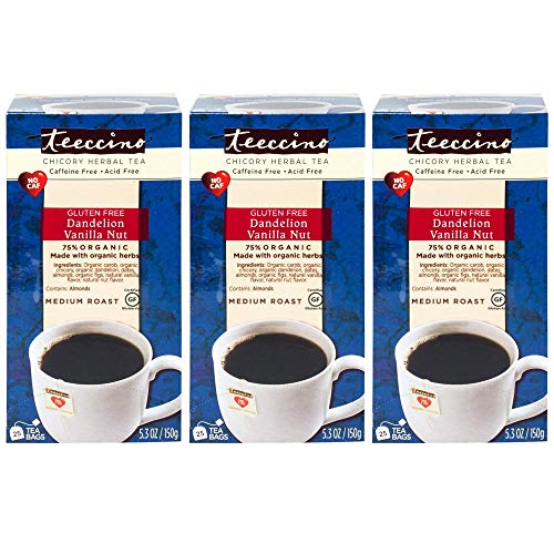 Teeccino Dandelion Vanilla Nut Chicory Herbal Tea Bags, Gluten Free,  Caffeine Free, Acid Free, 25 Count (Pack of 3) ()