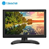 Toguard 12'' Inch Portable TFT LCD Monitor HD 1366x768 Color Display Screen with HDMI VGA MIC Port for PC Camera Laptop Raspberry Pi Use 160 Degree View Angle Built-in Speaker