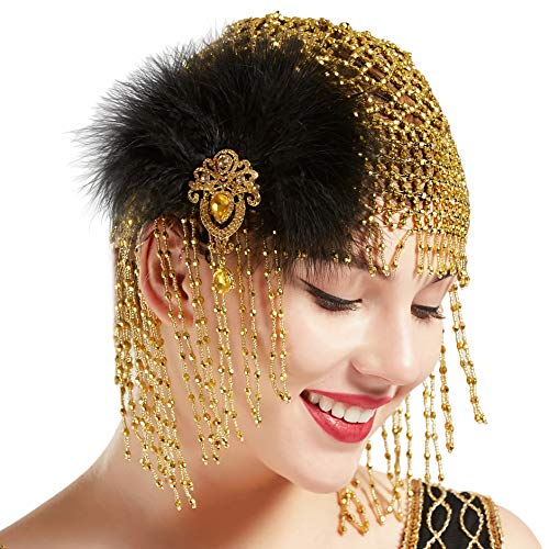 BABEYOND 1920s Beaded Cap Headpiece with Feather Clip Roaring 20s Beaded Flapper Headpiece Belly Dance Cap Exotic Cleopatra Headpiece for Gatsby Themed Party (Gold with Feather Clip) -