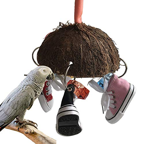 Mini Sandal Sneaker Bird Toy,Cockatoo Toys,Coco Cup Chew Toys,Parrot Ring,Parrot Cage Toys,Parrot Hanging Chewing Toys for African Grey, Amazon Conure,Macaw and Cockatiel
