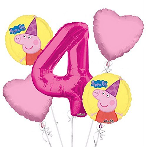 Peppa Pig Balloon Bouquet 4th Birthday 5 pcs - Party Supplies Pink ()