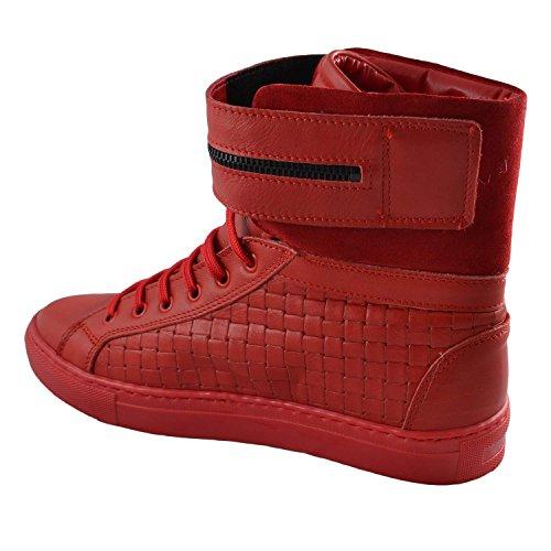 Intrecciata Sneakers Alta Con Rossa Strappone In Pelle wBtHqBT
