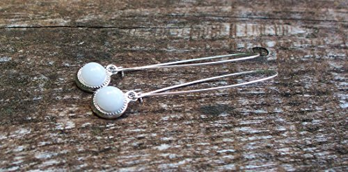 Recycled Vintage White Milk Glass Cold Cream Jar Long Drop Charm Earrings ()