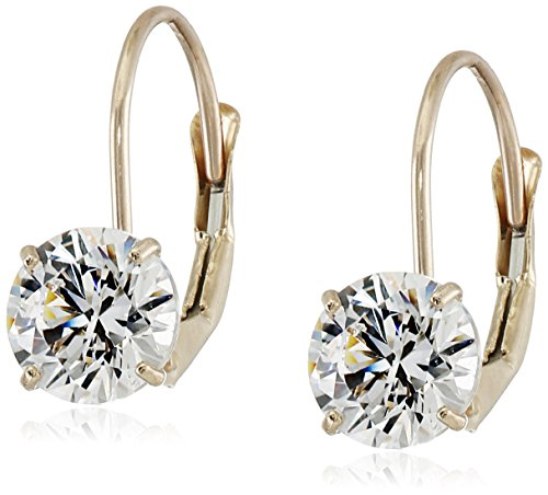 - 10K Yellow Gold Dangle Earrings set with Round Cut Swarovski Zirconia (2 cttw)