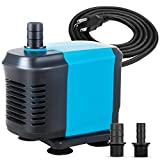 KEDSUM 550GPH Submersible Pump(2500L/H, 40W), Ultra Quiet Water Pump with 5ft High Lift, Fountain Pump with 6.5ft Power Cord, 3 Nozzles for Fish Tank, Pond, Aquarium, Statuary, Hydroponics