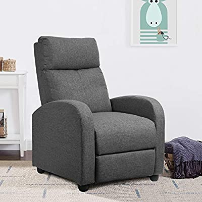 JUMMICO Fabric Recliner Chair Adjustable Home Theater Single Recliner Sofa Furniture with Thick Seat Cushion and Backrest Modern Living Room Recliners