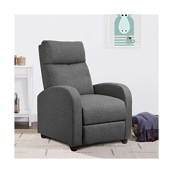 JUMMICO Fabric Recliner Chair Adjustable Home Theater Single Recliner Sofa Furniture...