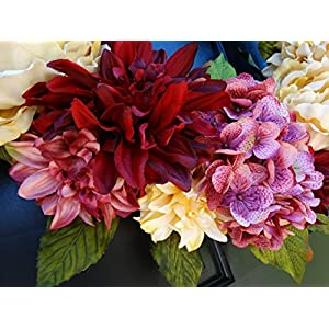 Large Spring Valentines Day Wreath for Front Door Decor; Faux Hydrangea, Dahlia and Peony Mix; Burgundy Red, Cream (Off-White) and Rose Pink; 24 Inch 3