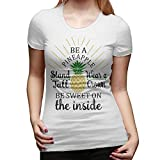 Women's Summer Fashion Be A Pineapple Casual Floral Print Cute Contracted Tops Short Sleeve Tee