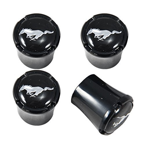 Mustang All Black Tire Valve Stem Caps Running Horse - Emblems Mustang V6
