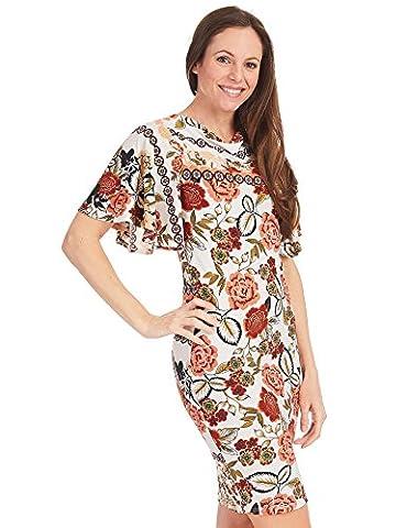 CTC WDR1362 Womens Print Cowl Neck Ruffle Short Sleeve Dress XL RUST_IVORY - Together Short Sleeve Dress