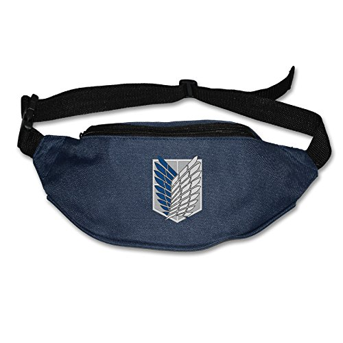 Attack On Titan Logo Unisex Zipper 80's Style Sport Pouch Waist Pack (Logo Wash Bag)