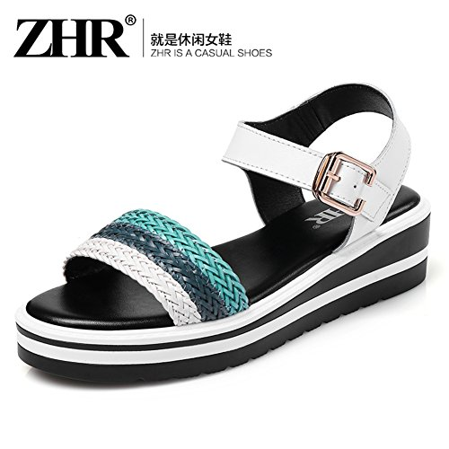 The Korean Word For Sandals In The Summer,Women High Heel Sandals,Thicken Platform Shoes,Flat Casual Shoes B