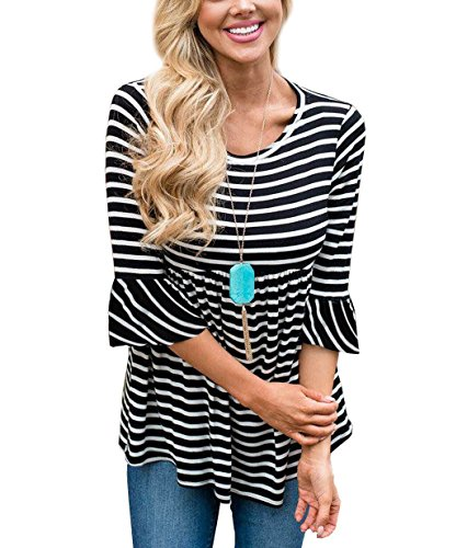 3/4 Sleeve Floral Tunic - TongKiKi Women's Casual Scoop Neck Half Ruffle Sleeve Floral Tops Tunic,Black-Stripe,XL