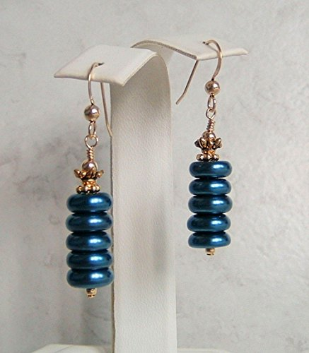 Modern Blue Glass Rondelle Gold Filled Earwires (Easy Comfortable Costumes)