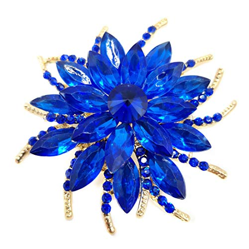 Women Brooch Pin Rose Flower Camellia Inlay Crystal Vintage Style Dress Party Wedding (A Rose Flower Gold Royal Blue)