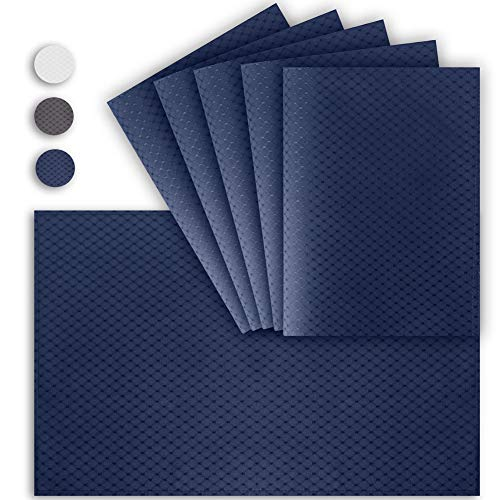 VCVCOO Anti-Stain Double Sided Placemats for Dining Table,13 by 19 inches Cloth Placemats Set of 6 Pieces, Navy Blue Waffle Woven Fabric Table Mats Machine Washable (Table Mats Blue Navy)
