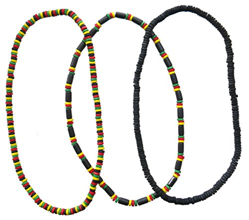 FROG SAC Rasta Necklace for Men - Mens Jamaican Green Yellow Red Black Wooden Beads Necklaces - Reggae, Africa, Hippie, Rastafari, Irie Accessories-Boys Party Favors-Summer Exotic Jewelry (3 pcs)