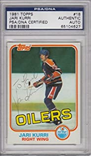 Jari Kurri 1981-82 Topps #18 Signed Autograph - PSA/DNA Certified - Hockey Slabbed Autographed Cards