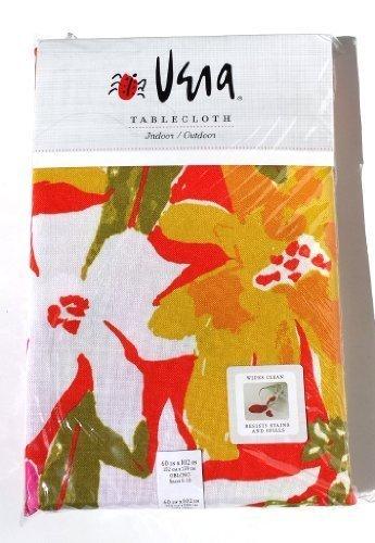 Vera Neumann Indoor/Outdoor Tablecloth, 60 by 102 Inch Oblong, Mayflower Orange