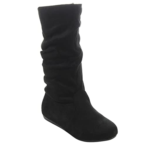 6f130660388 Link Girl's Mid-Calf Solid Color Flat Heel Slouch Boots