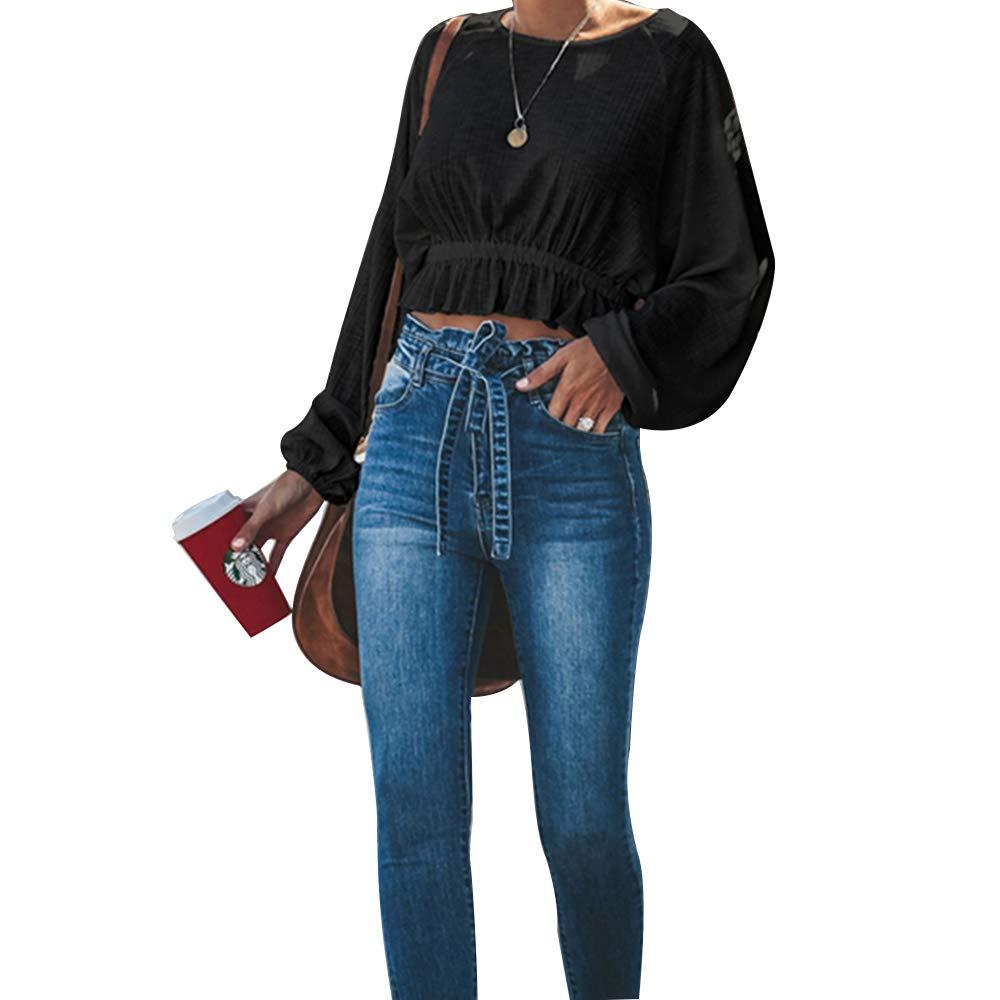 Pevor Womens R-Neck Casual Tops High-Waist Blouse with Flounce Long Dolman Sleeve Loose Shirts (S, Black)