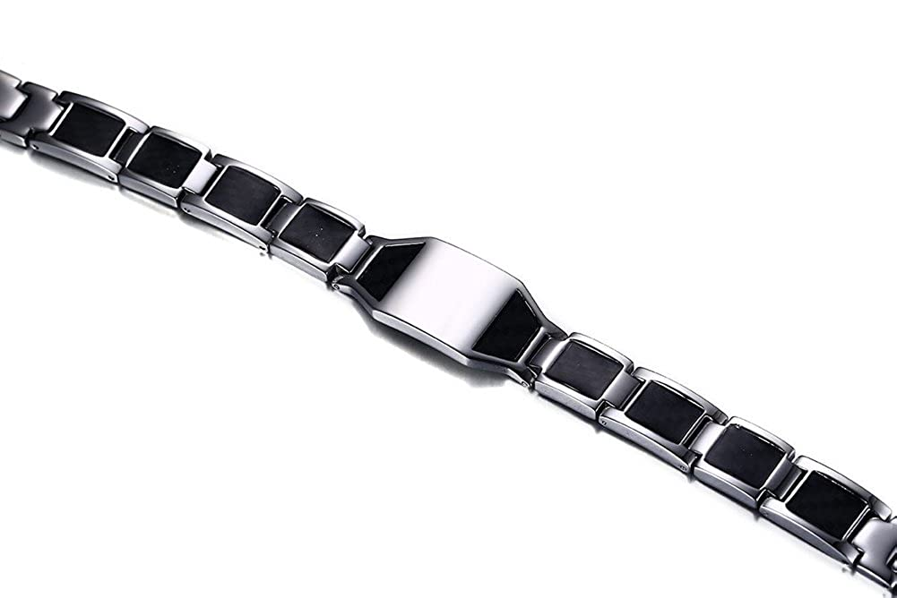 XUANPAI Free Engraving Stainless Steel Carbon Fiber Magnetic Therapy Link ID Bracelet,Free Links Removal Tool