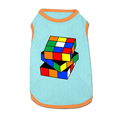 Rubik Cube Pet Doggie 100% Fleece Vest Clothing SkyBlue Medium