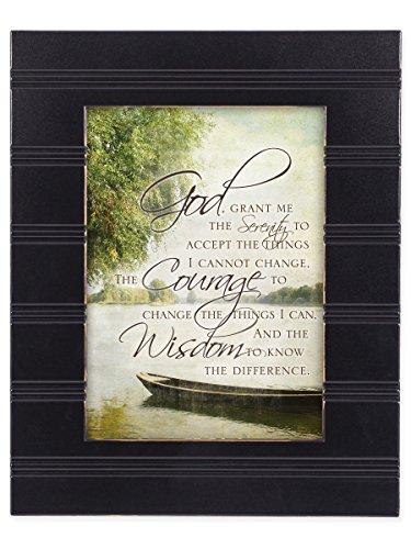 Serenity Prayer Wall Plaque - The Serenity Prayer Boat on a Lake Black 8 x 10 Sentimental Framed Art Plaque - Holds 5x7 Photo
