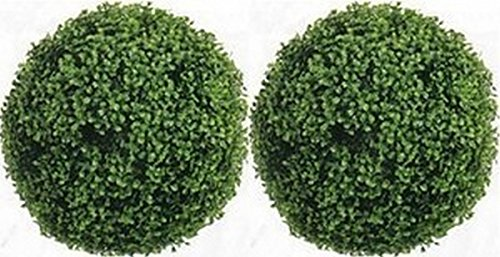 Two 19 inch Outdoor Artificial Boxwood Topiary Balls UV R...
