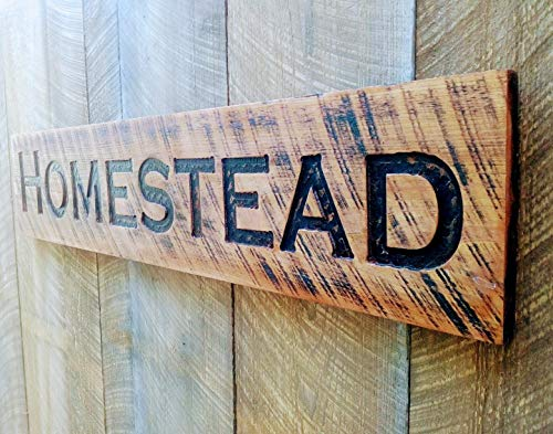 """Large Homestead stained sign 48""""x10"""" Carved Horizontal-Wood Lumber Rustic Distressed Shabby Style Americana"""