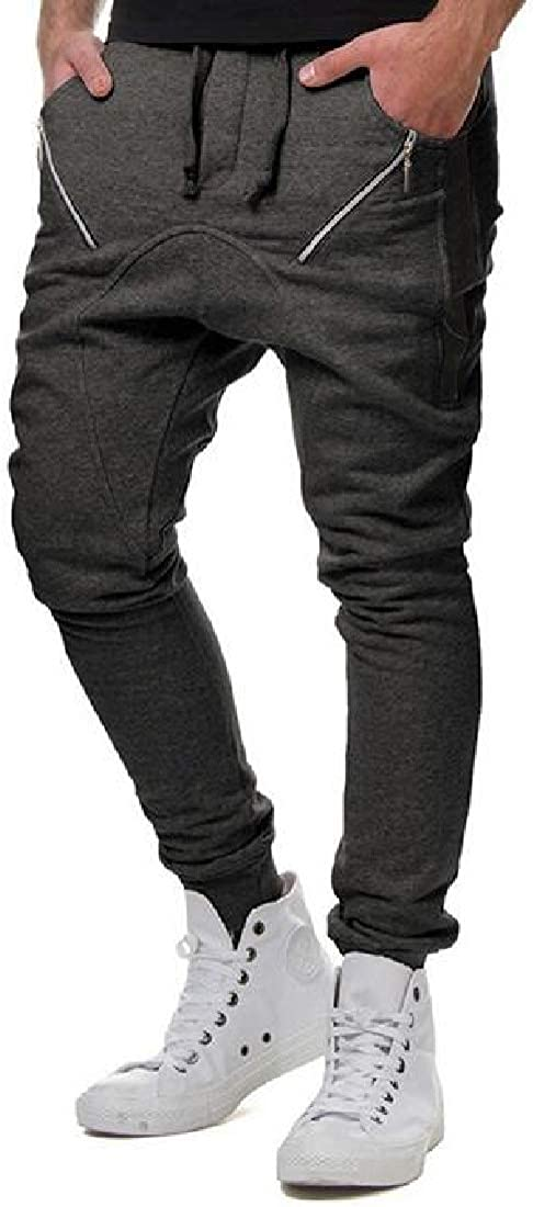 ARTFFEL Mens Casual Drawstring Slim Zip Trim Sweatpants Jogger Pants Trousers