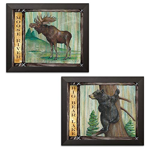 Rustic Moose River and Big Bear Lake Cabin Lodge Decor Two 14x11in Black Framed Prints Ready to Hang