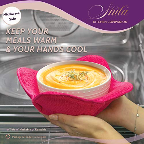 SHILA Bowl Huggers, Multi Color Set of Microwave Safe Hot Bowl Holder to Keep Your Hands Cool and Your Meal Warm, Polyester & Sponge Heat Resistant Bowl Cozies for Soup, Rice and Pasta Bowls (5)