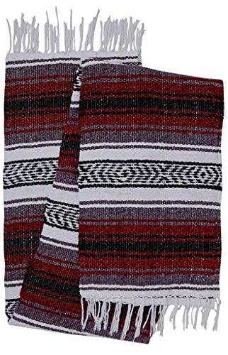 El Paso Designs Genuine Mexican Falsa Blanket - Yoga Studio Blanket, Colorful, Soft Woven Serape Imported from Mexico (Burgundy) -