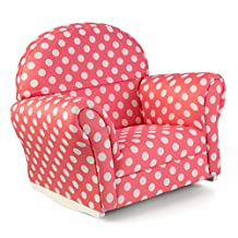 KidKraft Upholstered Rocker with Slip Cover Toy, Pink with White Polka Dots