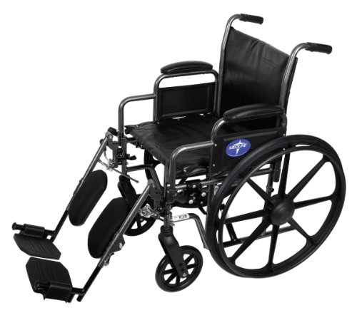 (Medline Easy-to-Clean and Durable Wheelchair with Removable Desk Arms and Elevating Leg Rests, 18