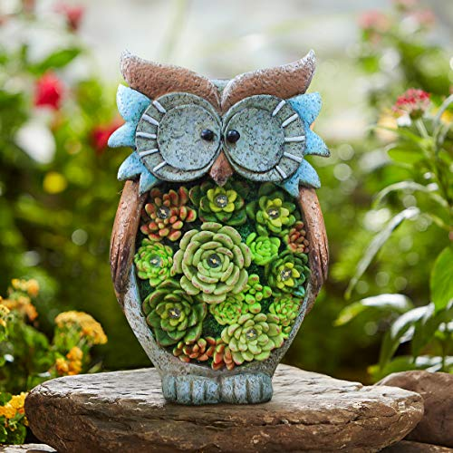 "Owl Figurine Lawn Ornaments - Solar Powered LED Outdoor Lights Resin Garden Statue for Yard Decorations, 10.5"" x 6"", Housewarming Gift"