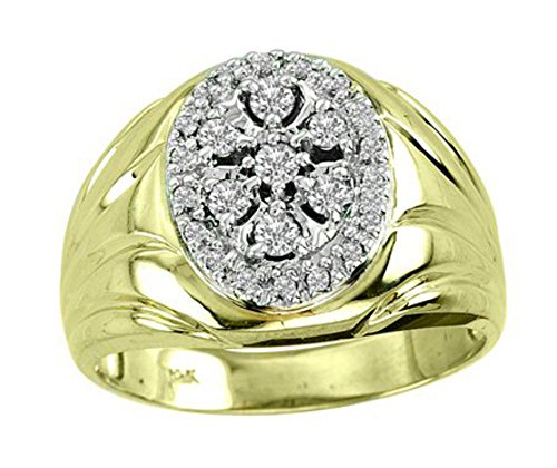 Mens Gold Ring Diamond 14K Yel