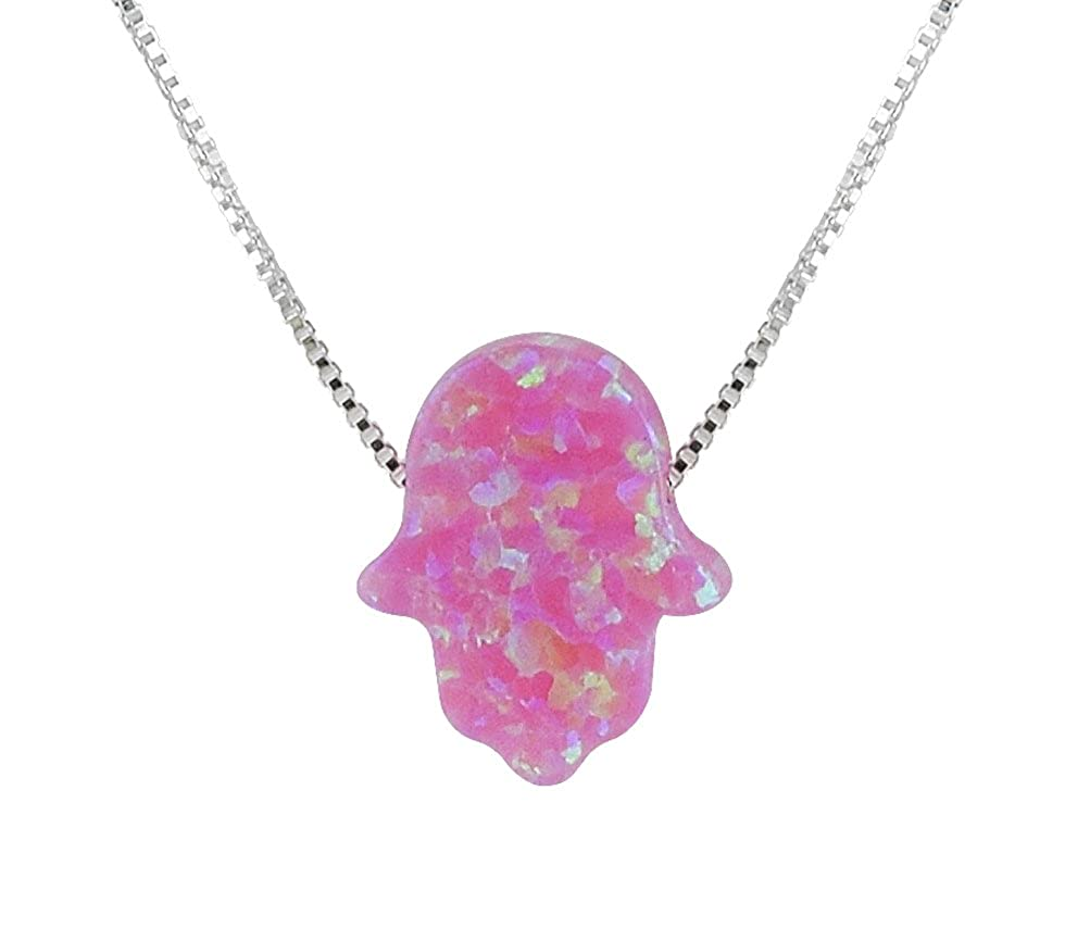 aJudaica Created Fire Opal Hamsa Hand Necklace Opal Pendant with Sterling Silver Chain