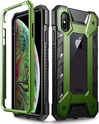 """iPhone Xs Max Case, Poetic Journeyman [360 Degree Protection][Built-in-Screen Protector] Full-Body Rugged Heavy Duty Case for Apple iPhone Xs Max 6.5"""" OLED Display - Black/Olive"""