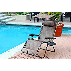 Jeco Oversized Zero Gravity Chair with Sunshade and Tray - Brown Mesh