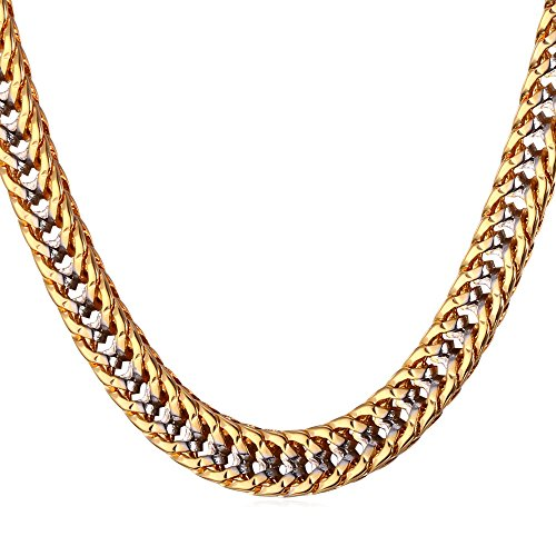 Unisex Two Tone Gold Jewelry Men 6MM Wide Platinum & 18K Gold Plated Franco Curb Chain Necklace (18k Gold Franco Chain)
