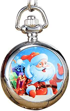 FeelMeStyle Owl Key Ring Christmas Pattern Stainless Steel Quartz Pocket Watches Steampunk Watches for Unisex