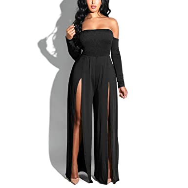 46a7ecc6e87 PARTY LADY Womens Sexy Tube Top Strapless Split Wide Leg Jumpsuits Rompers  Without Belt Size S