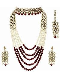 Jewel India Indian Ethnic Bollywood Traditional Wedding Bridal Party-Wear Pearl Kundan Rani Haar Choker Necklace Jewelry Set
