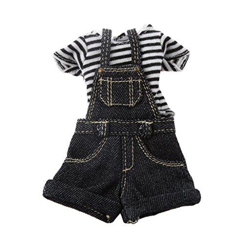 Kit de Vêtements Salopette T-shirt Pour 1/6 Poupées BJD Blythe Accessoires -Bleu/Noir - Noir, /