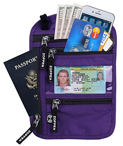 Zoppen RFID -Blocking Travel Passport holder Neck Stash Ultra Slim Wallet Purple by Zoppen