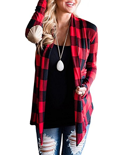 Womens Casual Buffalo Plaid Open Front Cardigan Suede Elbow Patch Long Sleeve Coat Tops Outwear Red (Buffalo Plaid Boot)