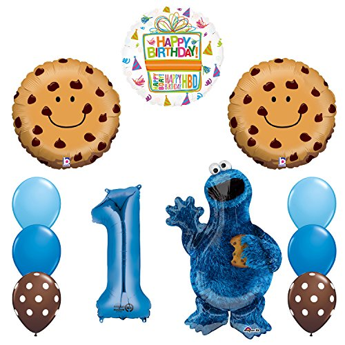 Mayflower Products NEW! Sesame Street Cookie Monsters 1st Birthday party supplies Balloon Decorations (Cookie Bouquet Boy)